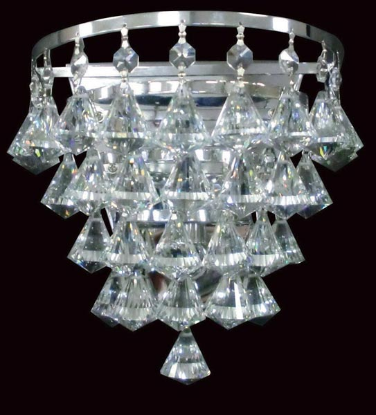 Impex Parma Flush Half Round Crystal Wall Light In Chrome