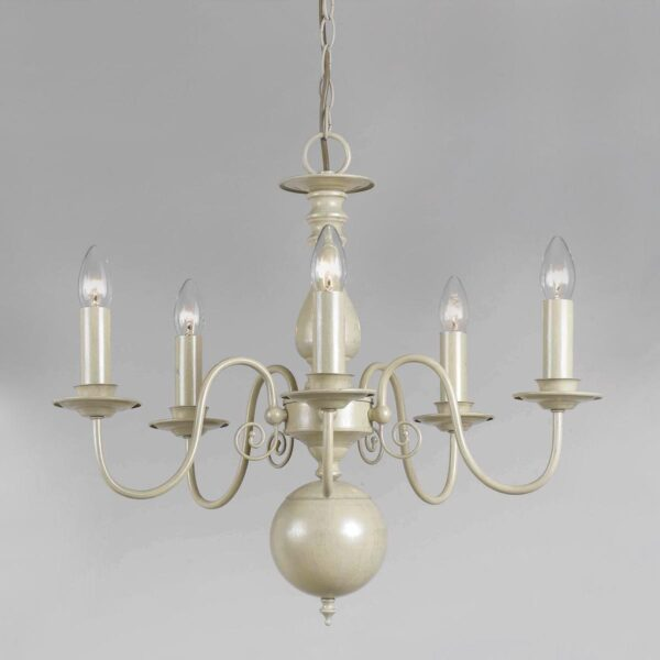 Impex Bologna Flemish Style 5 Light Chandelier Painted Cream Finish