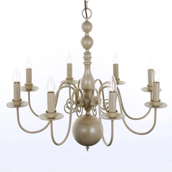 Impex Bologna Flemish Style 8 Light Chandelier Painted Cream Finish