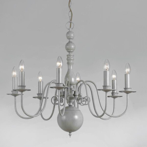 Impex Bologna Flemish Style 8 Light Chandelier Painted Grey Finish