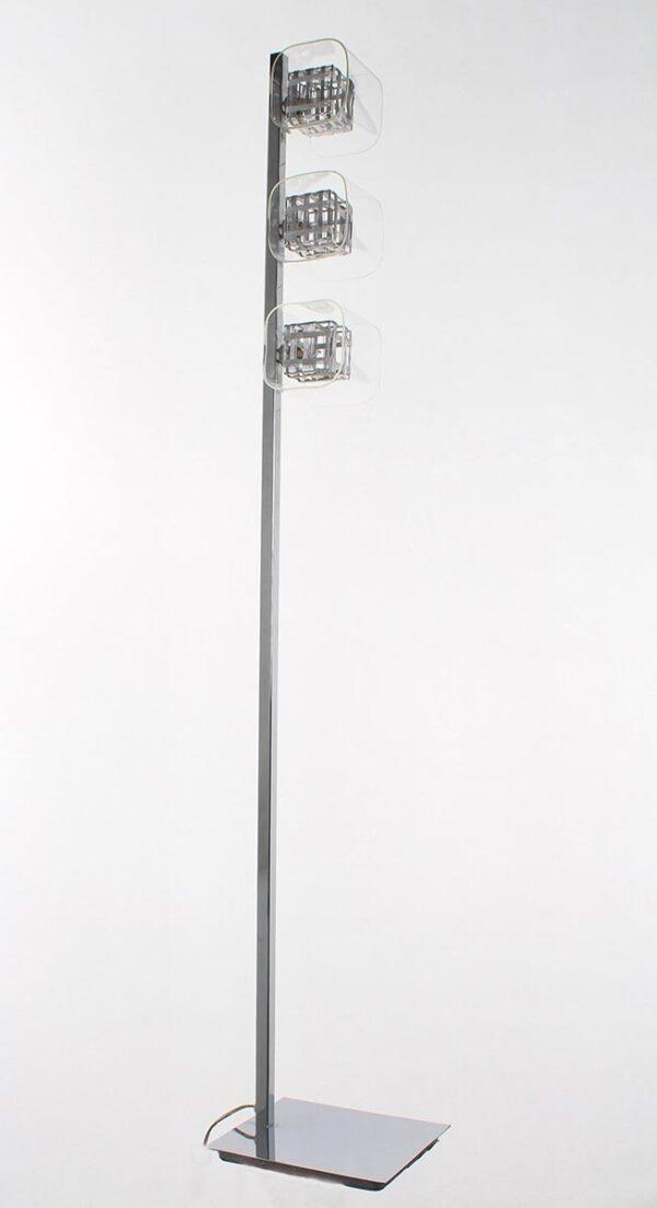 Impex Avignon Modern 3 Light Cube Floor Lamp Polished Chrome