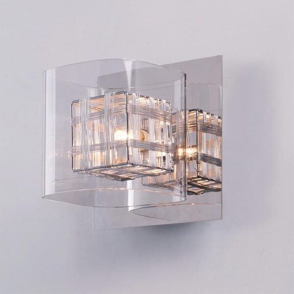 Impex Avignon Modern 1 Lamp Cube Wall Light Polished Chrome