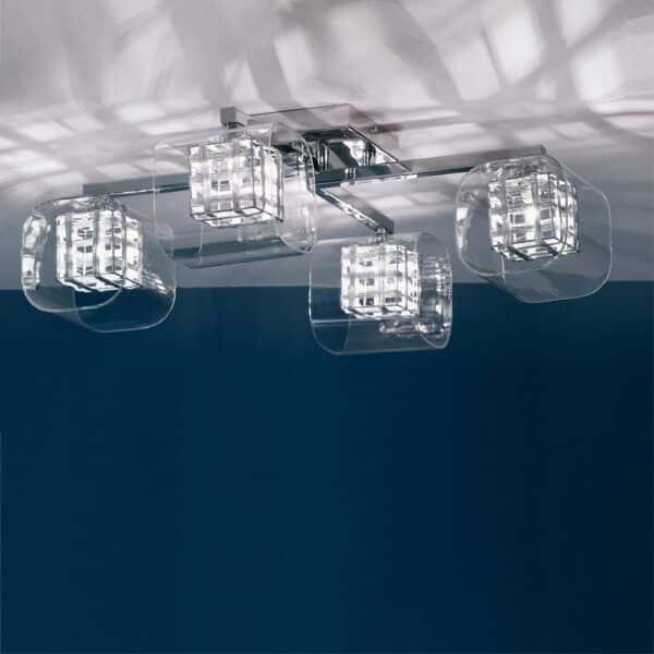 Impex Avignon Modern 4 Arm Cube Flush Low Ceiling Light Chrome