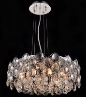 Impex Raina Polished Chrome 8 Light Circular Crystal Chandelier