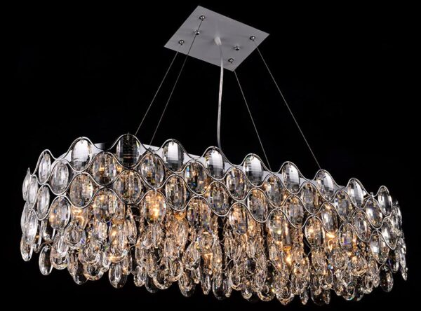 Impex Raina Polished Chrome 10 Light Oblong Crystal Chandelier