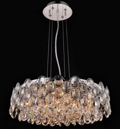 Impex Raina Polished Chrome 12 Light Circular Crystal Chandelier