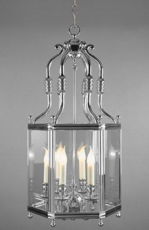 Impex Regal Large Chrome Plated Solid Brass 6 Light Hanging Lantern