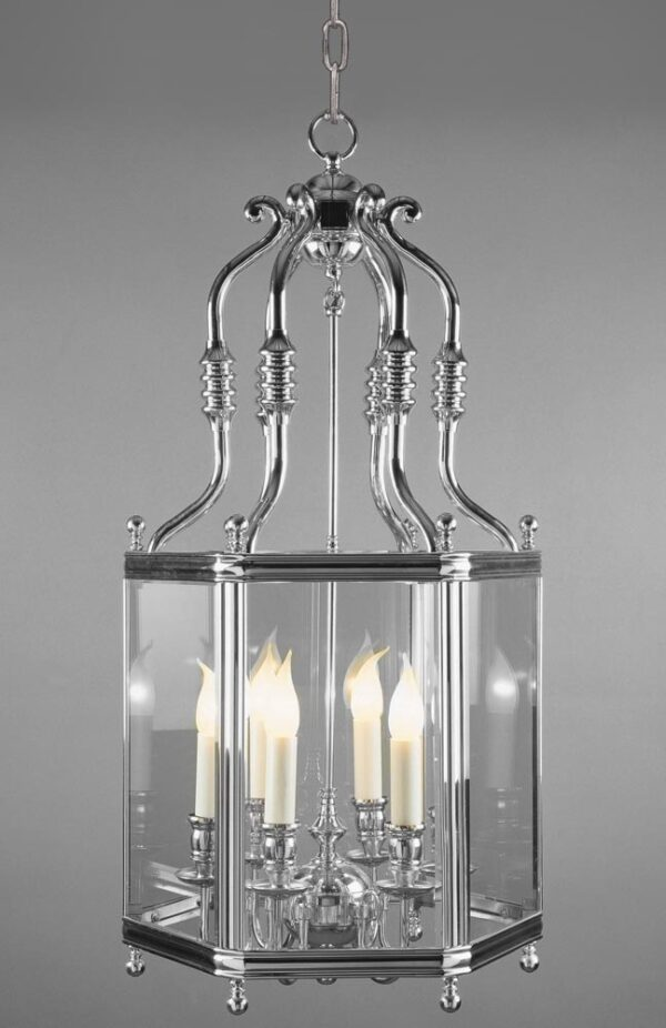 Impex Regal Large Polished Solid Brass 6 Light Hanging Hall Lantern
