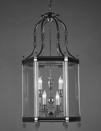 Regal Very Large Chrome Plated Solid Brass 9 Light Hanging Hall Lantern