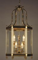 Impex Regal Very Large Polished Solid Brass 9 Light Hanging Hall Lantern