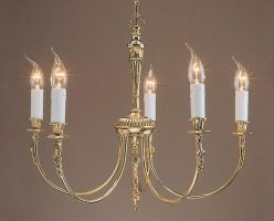 Impex Richmond Polished Solid Brass Traditional 5 Light Chandelier
