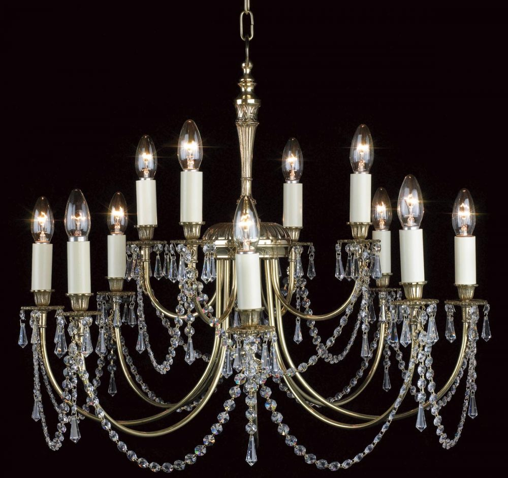 Impex Richmond Solid Polished Brass 12 Light Chandelier