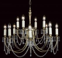 Impex Richmond Solid Polished Brass 12 Light Chandelier Crystal Drops