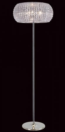 Impex Rome Modern 6 Light Crystal Floor Lamp Polished Chrome