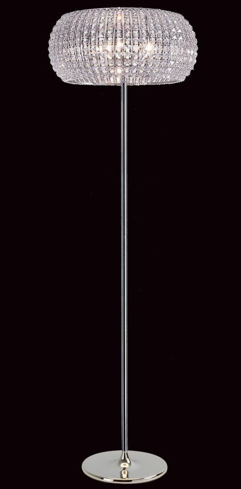 Rome Modern 6 Light Crystal Floor Lamp Polished Chrome