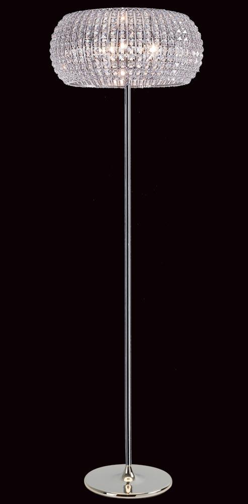 Impex Rome Modern 6 Light Crystal Floor Lamp Polished Chrome