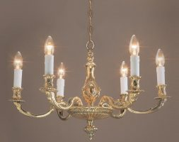 Impex Sandringham Solid Brass 6 Light Chandelier Brooklands Collection
