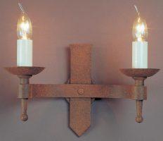 Impex Saxon 2 Lamp Aged Iron Work Gothic Wall Light