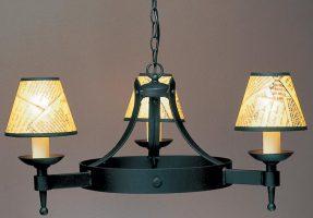 Impex Saxon 3 Light Matt Black Iron Work Gothic Cartwheel Chandelier