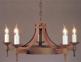 Impex Saxon 5 Light Aged Iron Work Gothic Cartwheel Chandelier