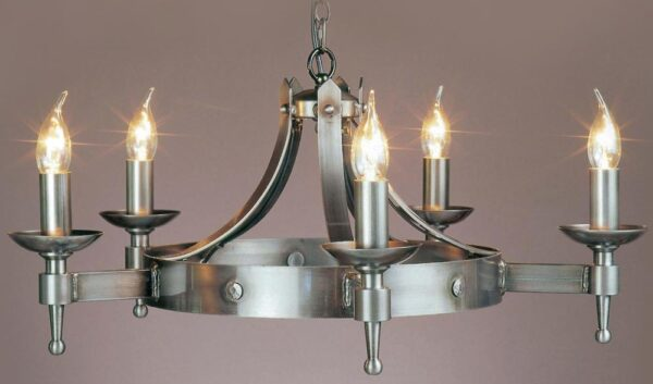 Impex Saxon 5 Light Sterling Iron Work Gothic Cartwheel Chandelier