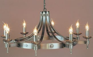 Impex Saxon Large 8 Light Sterling Ironwork Gothic Cartwheel Chandelier