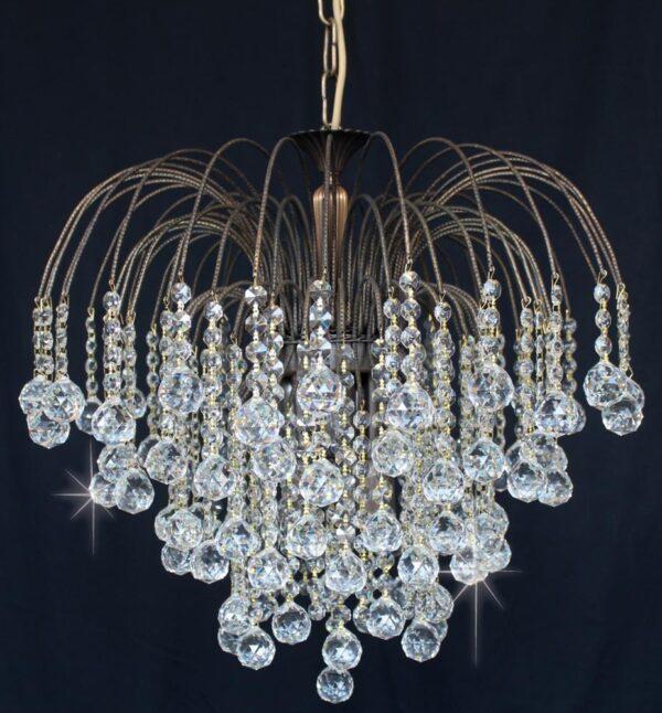 Impex Shower 47cm Strass Crystal Balls 6 Light Chandelier Antique Brass