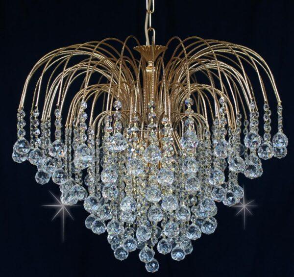 Impex Shower 60cm Strass Crystal Balls 6 Light Chandelier Gold