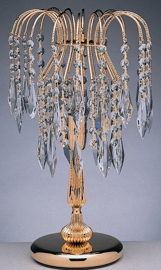 Impex Shower Traditional 1 Light Strass Crystal Table Lamp Polished Gold