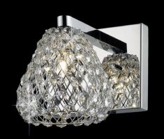 Impex Simone Polished Chrome 1 Light Wall Light With Crystal