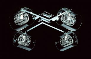 Impex Sonja Polished Chrome Flush 4 Light Fitting With K9 Crystal