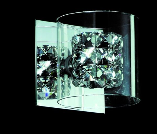Impex Sonja Polished Chrome Single wall Light With K9 Crystal