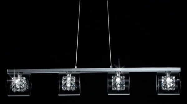Impex Sonja Polished Chrome 4 Light Bar Pendant With K9 Crystal