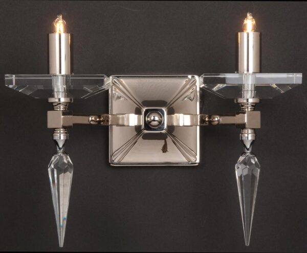 Impex Sorrento 2 Lamp Art Deco Style Wall Light Optic Glass