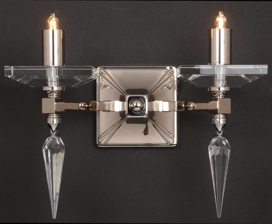 Deco Style Wall Lights : Impex Sorrento 2 Lamp Art Deco Style Wall Light Optic Glass STH02008/02/WB/G