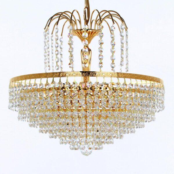 Impex Bonn Gold Plated 40cm 5 Light Strass Crystal Chandelier Pendant