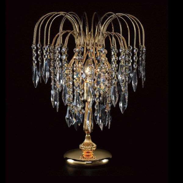 Impex Shower 1 Light Long Chain Strass Crystal Table Lamp Gold Plate