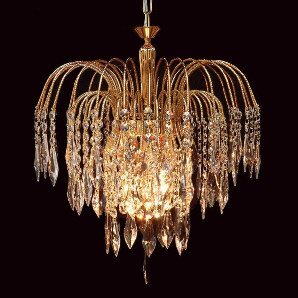 Impex Shower 35cm Strass Crystal 1 Light Gold Plated Ceiling Pendant