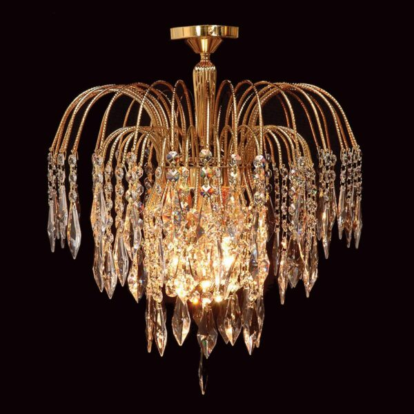 Impex Shower 35cm Gold Plated 1 Lamp Flush Strass Crystal Ceiling Light