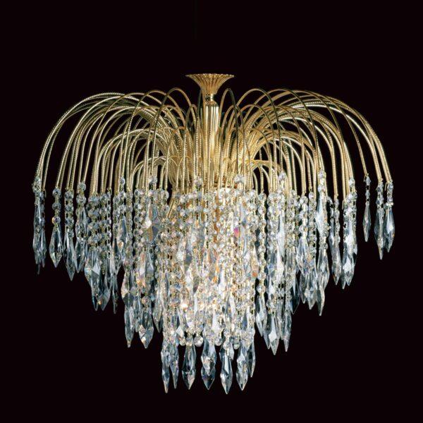 Impex Shower 60cm Gold Plated 6 Light Flush Strass Crystal Chandelier