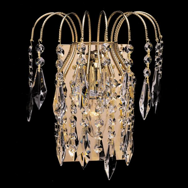 Impex Shower 1 Lamp Strass Crystal Single Wall Light Polished Gold Plate