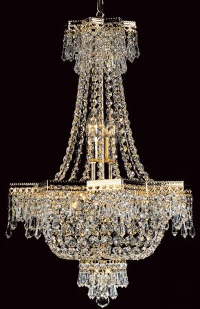 Impex Star Empire Style 5 Light Strass Crystal Chandelier Gold Plated