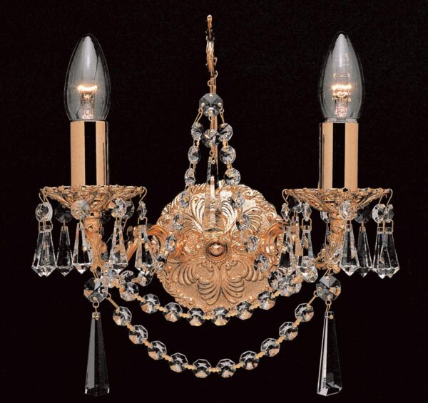 Impex Stuttgart Cast Brass 2 Lamp Strass Crystal Wall Light Gold Plated