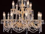 Impex Stuttgart Cast Brass 12 Light Strass Crystal Chandelier Gold Plated
