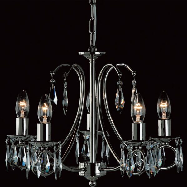Impex Terni Traditional 5 light Optic Glass Chandelier Polished Nickel