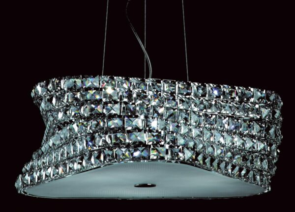 Impex Tia Polished Chrome 6 Light Pendant With Clear K9 Crystal