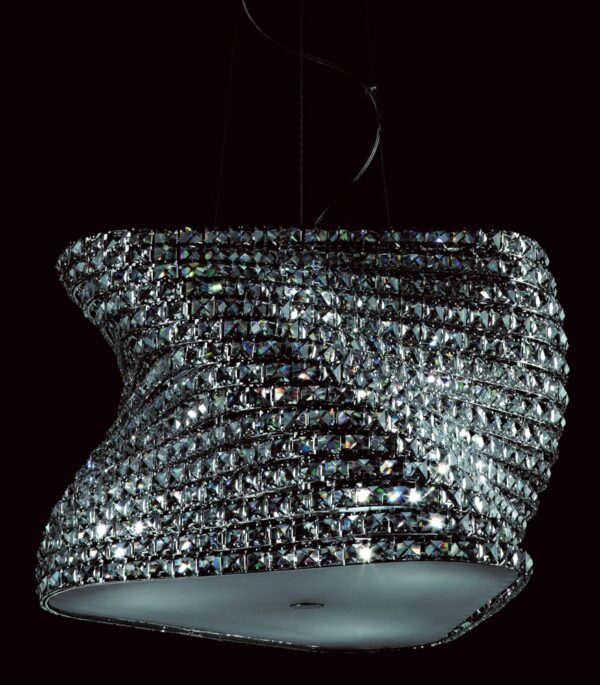 Impex Tia Large Polished Chrome 6 Light Pendant With Clear K9 Crystal