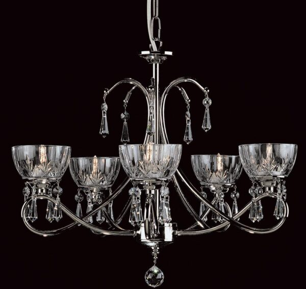 Impex Vincenza Traditional 5 Light Lead Crystal Chandelier
