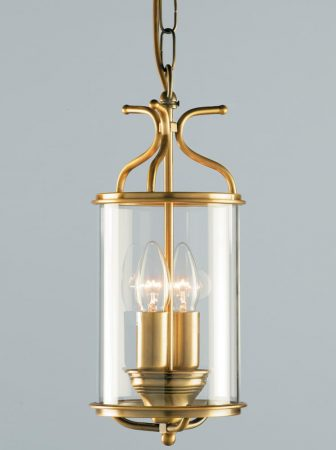 Impex Winchester 2 Light Cylinder Glass Hanging Lantern Antique Brass
