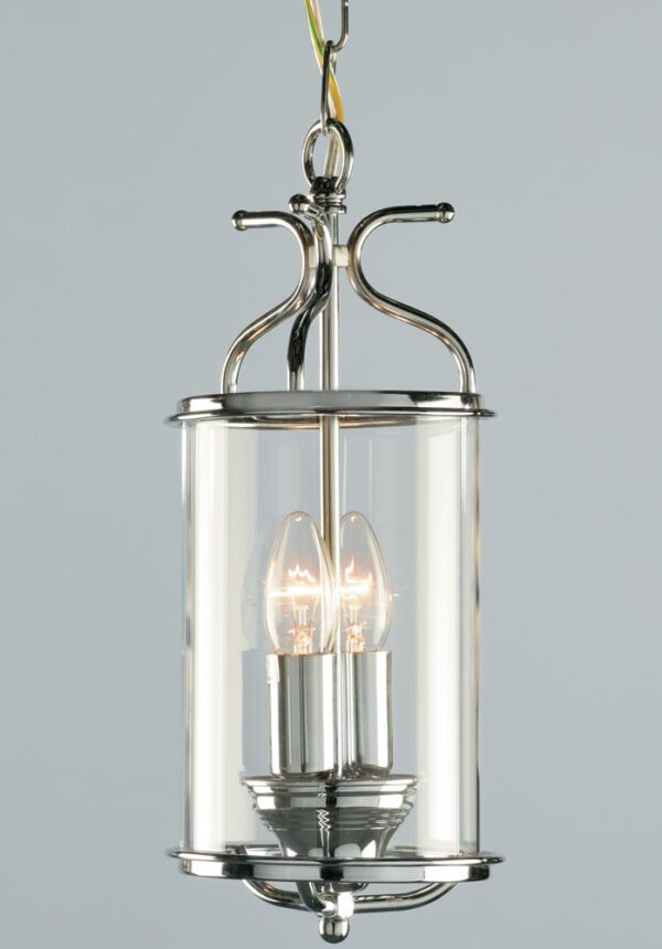 Impex Winchester 2 Light Cylinder Glass Hanging Lantern Chrome